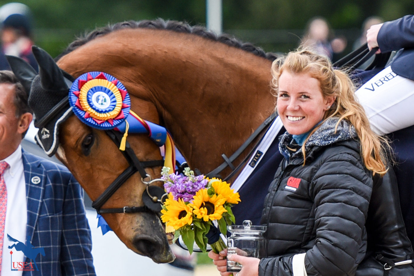 Cooley hopes that his groom wouldn't mind if he took a little nibble of her flowers. USEA/Leslie Mintz Photo.