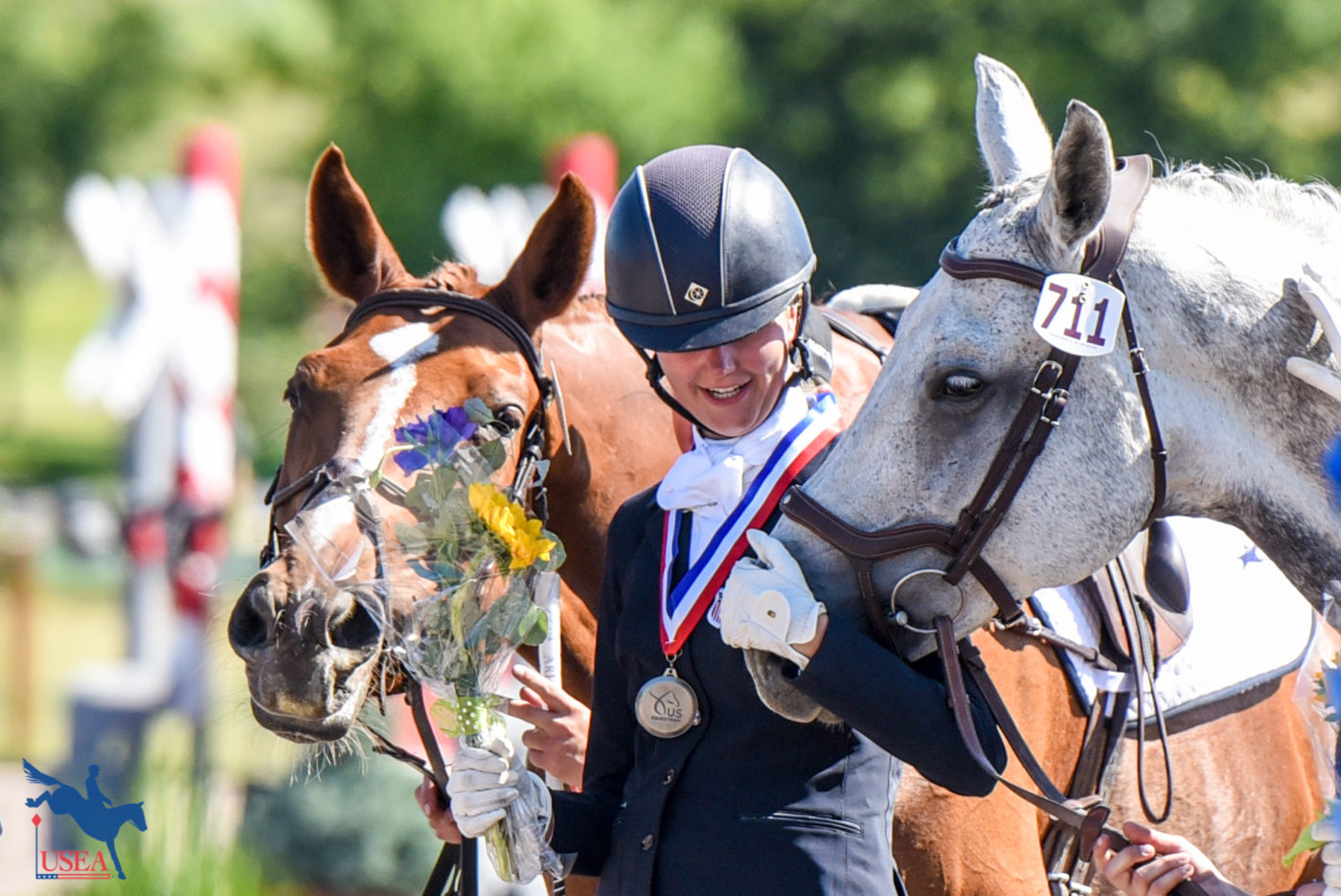 I am just going to take a little nibble of those flowers - okay? USEA/Leslie Mintz Photo.