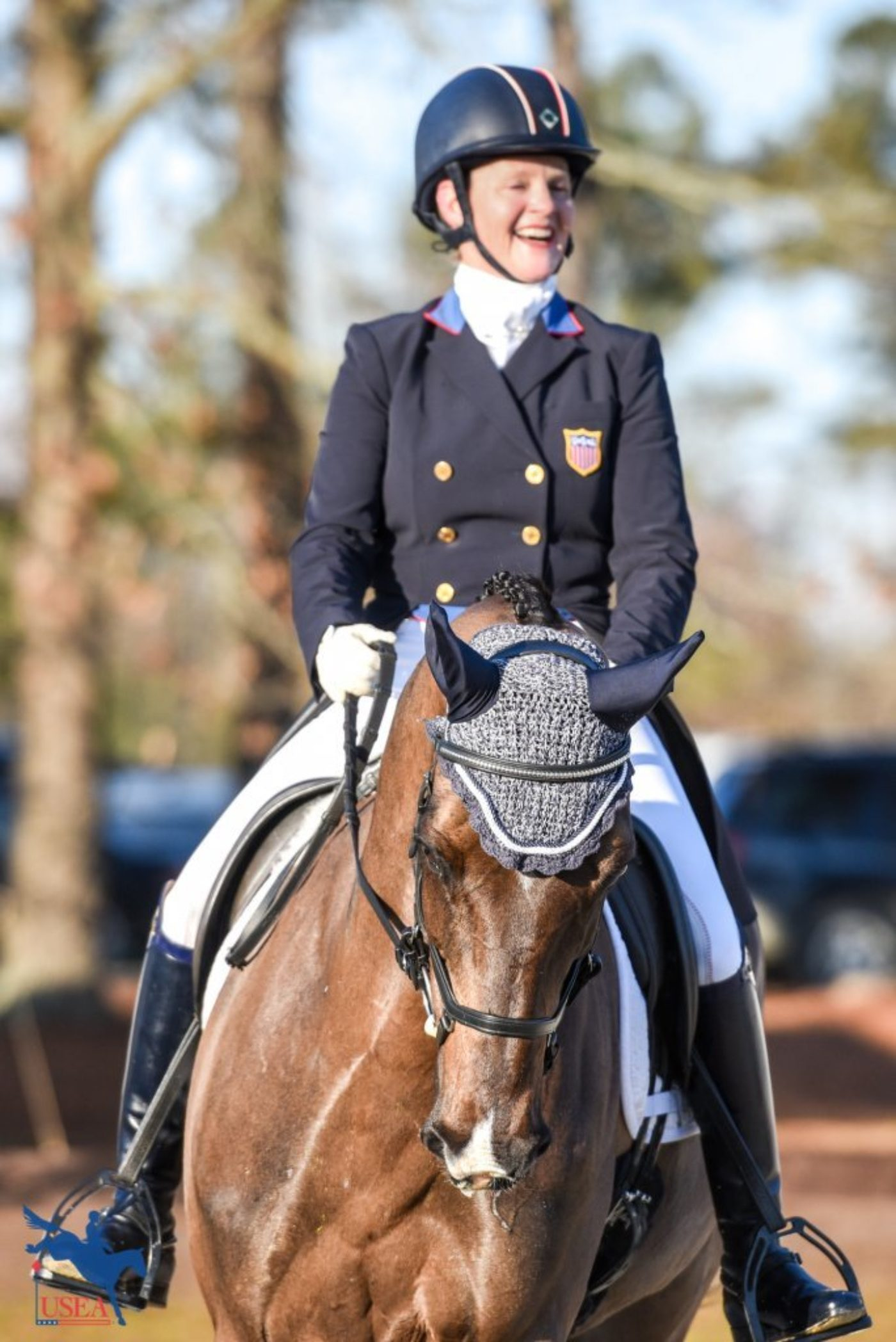 Kim Severson was all smiles before her dressage test aboard Cooley Cross Border. The pair would score a record-breaking 20.8. USEA/Leslie Mintz Photo.