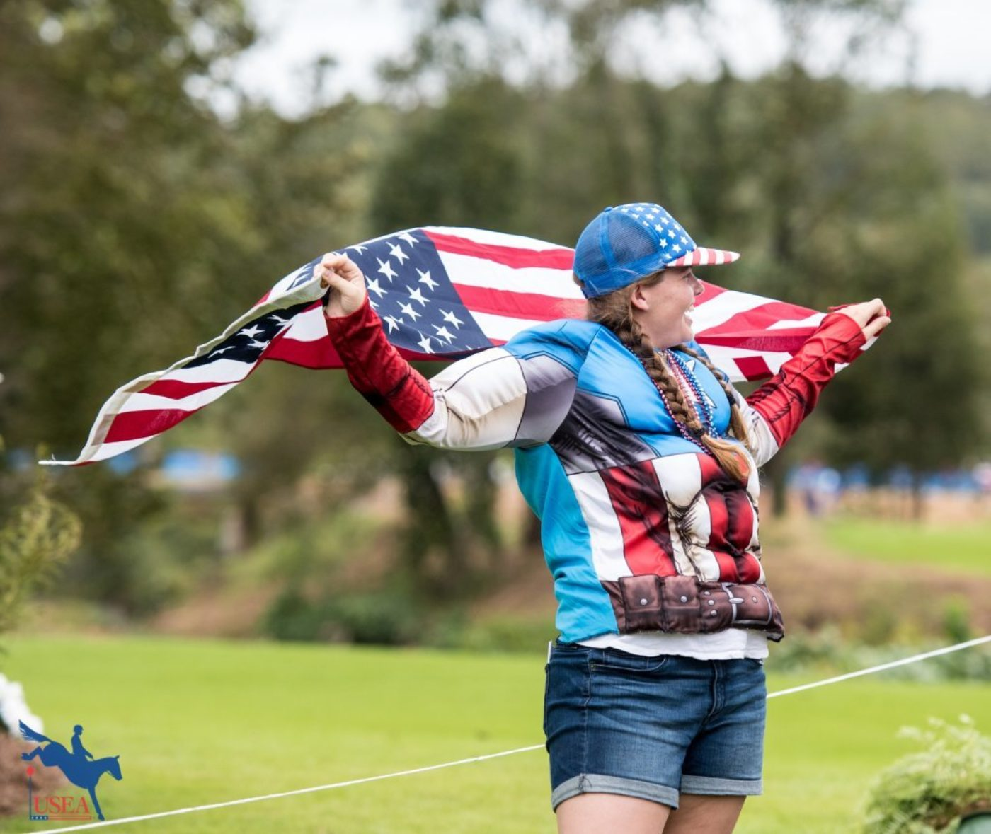 Just a little Team USA spirit out on the cross-country course. USEA/Leslie Mintz Photo.