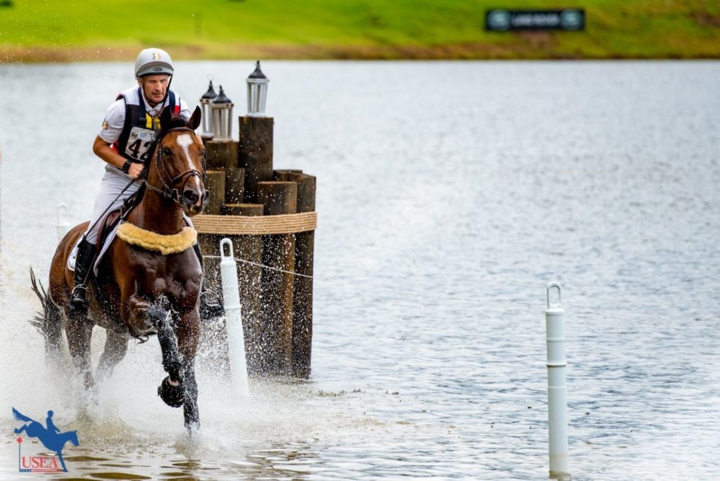 Joris Vanspringel and Imperial van de Holtakkers taking a little dip in the lake. USEA/Leslie Mintz Photo.