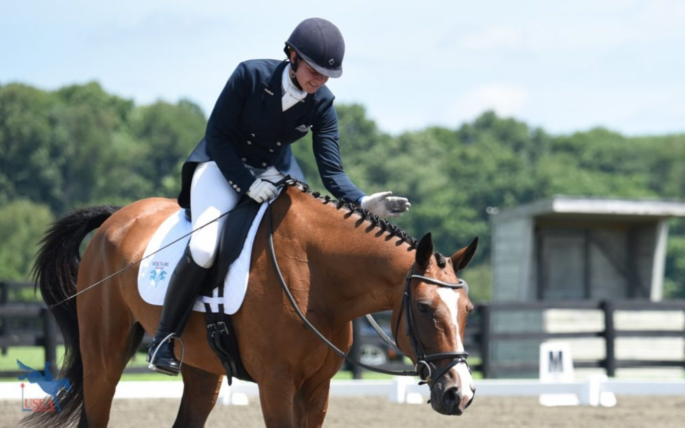 Praise for Cooley O from Jules Ennis following their dressage test. USEA/Jessica Duffy Photo.