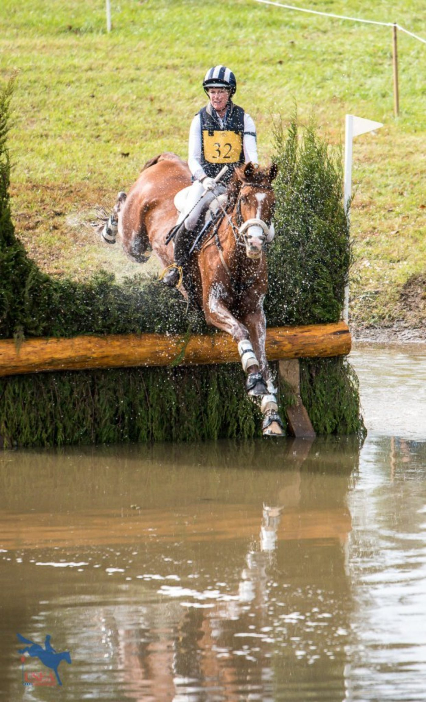 Allie Knowles and Business Class splashing through the Frog Pond. USEA/Jessica Duffy Photo.