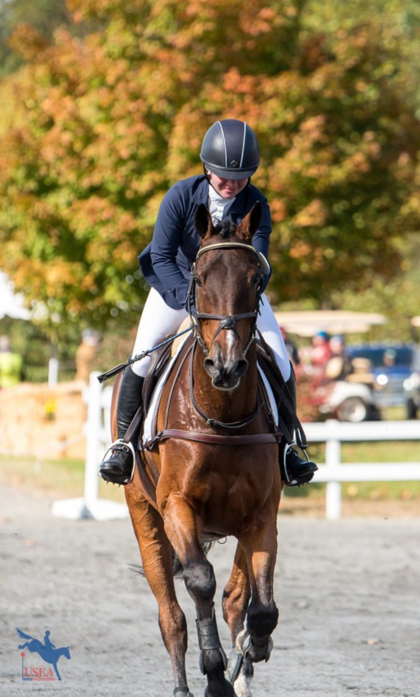 Ryan Keefe celebrating finishing on her dressage score with Flintstar in her first CCI2*. USEA/Jessica Duffy Photo.