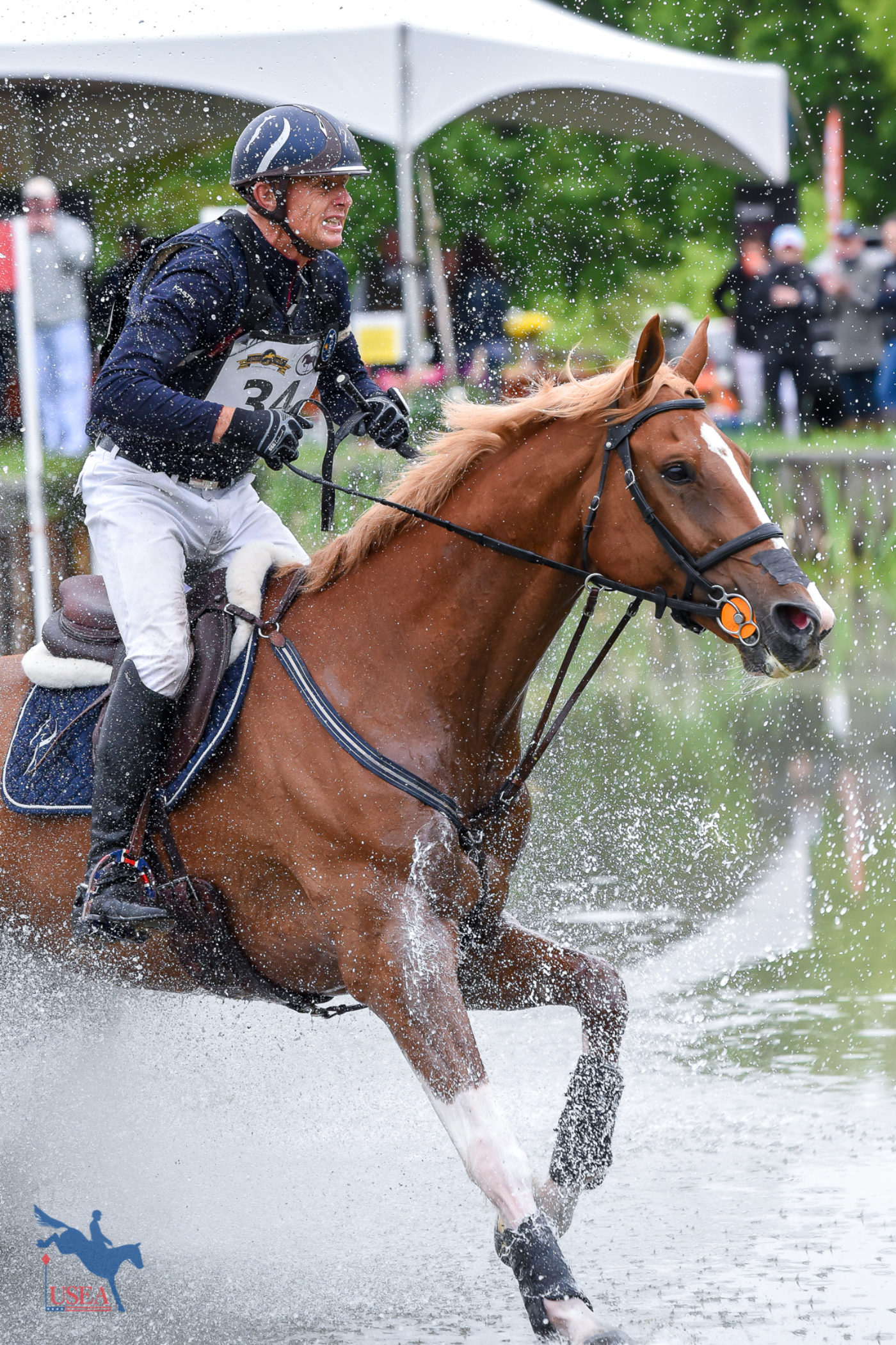 Leslie Law and Voltaire de Tre making a splash. USEA/Jessica Duffy Photo.