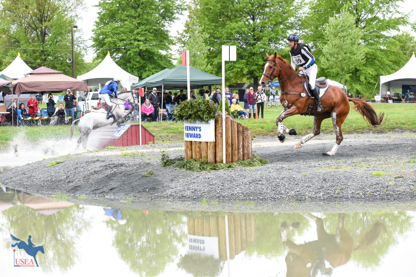 The three-star cross-country course passed through the Jersey Shore water twice. USEA/Jessica Duffy Photo.