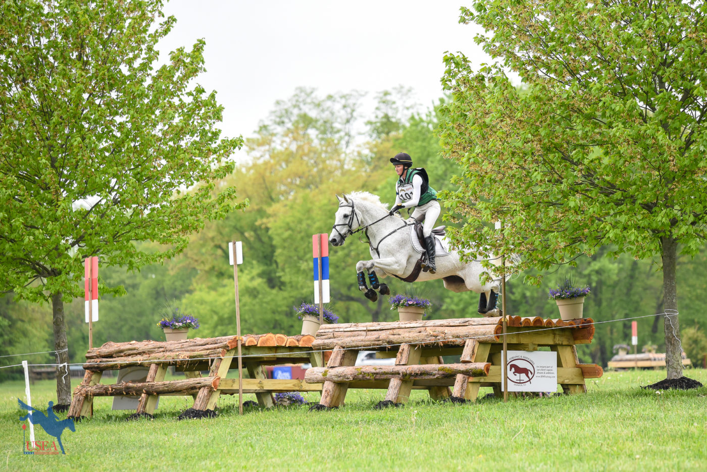 Emily Hamel and Corvett catching some air over the cedar table, one of the new fences on the three-star course. USEA/Jessica Duffy Photo.