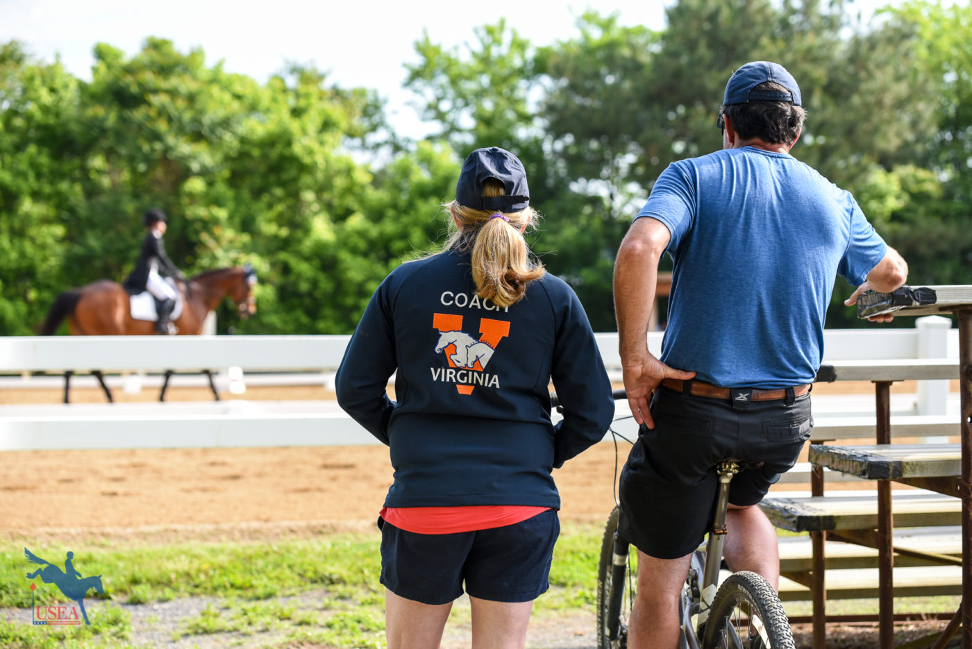 University of Virginia coach Mimi Combs looking on as Madeleine Ix and The Gambler complete their CCI* test. USEA/Jessica Duffy Photo.