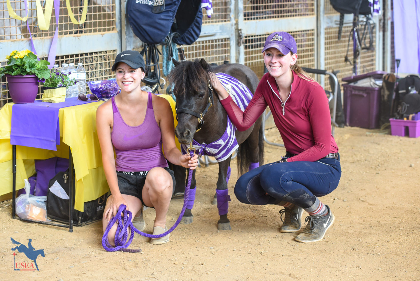 Members of the James Madison University Eventing Team and their mascot, Rory the Miniature Horse. USEA/Jessica Duffy Photo.