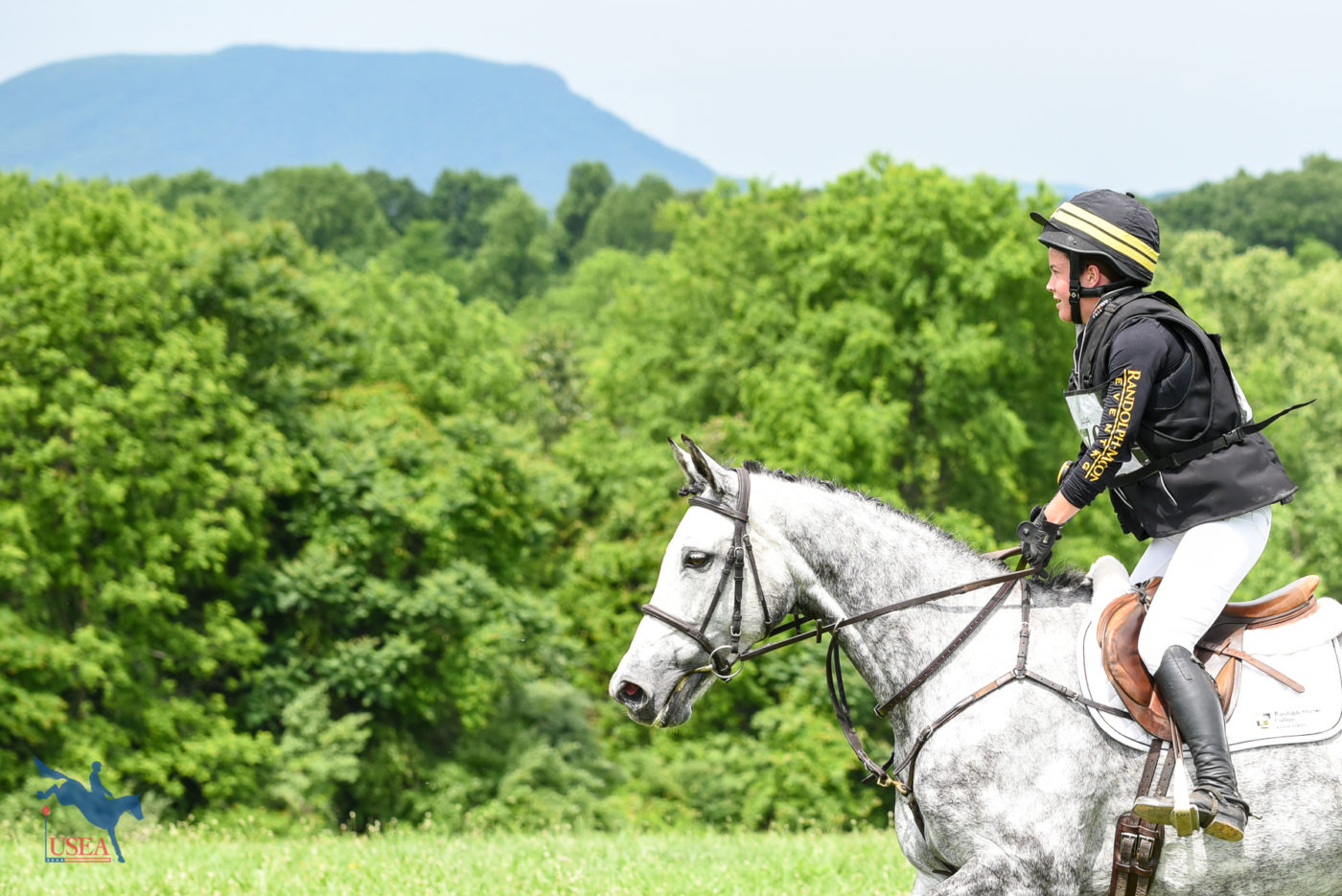 Madlen Lesesne and Currahee galloping past the backdrop of House Mountain. USEA/Jessica Duffy Photo