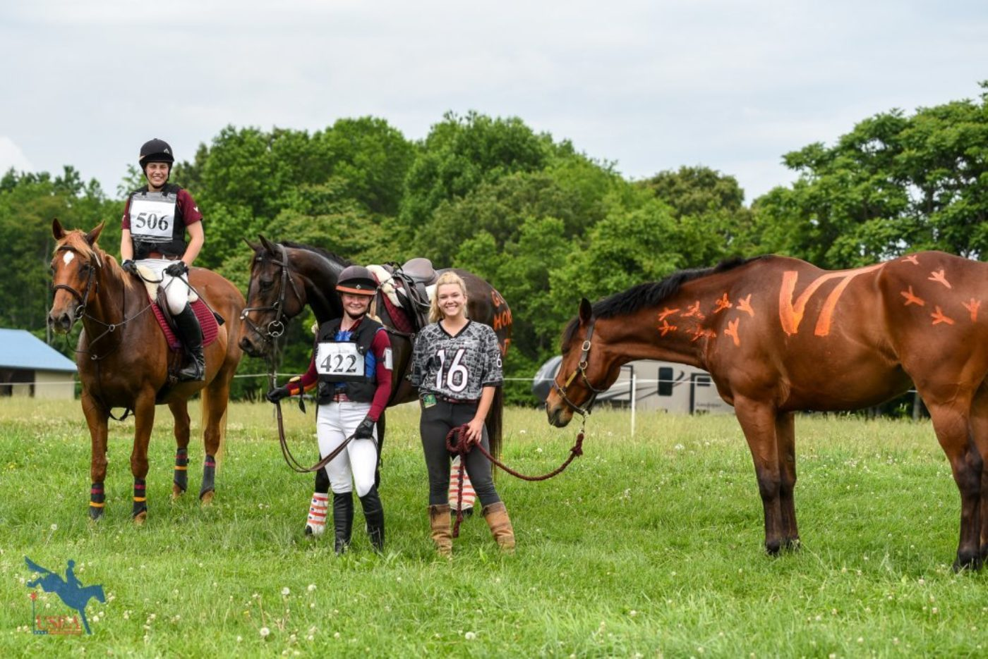 Members of the Virginia Tech team pausing for a post cross-country photo. USEA/Jessica Duffy Photo.