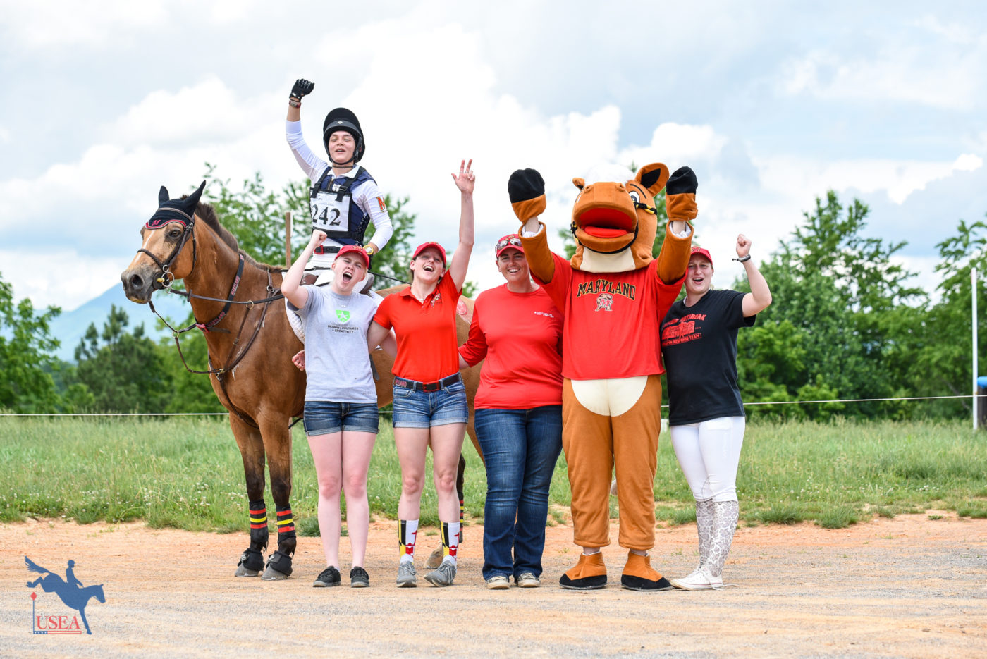 University of Maryland Eventing Team members with their mascot, Terpretariat! USEA/Jessica Duffy Photo.