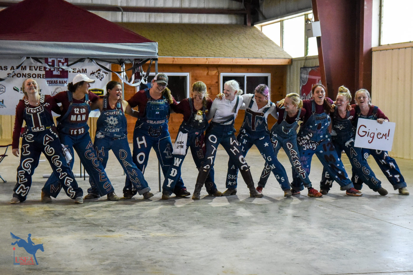 Texas A&M Eventing Team Yell Practice getting everyone in the spirit. USEA/Jessica Duffy Photo.