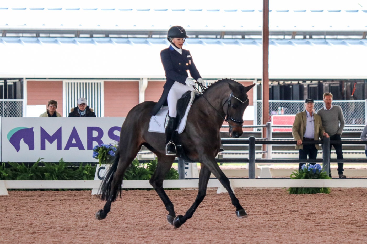 Marilyn Little and RF Scandalous broke into the teens with their dressage test. Samantha Clark Photo.