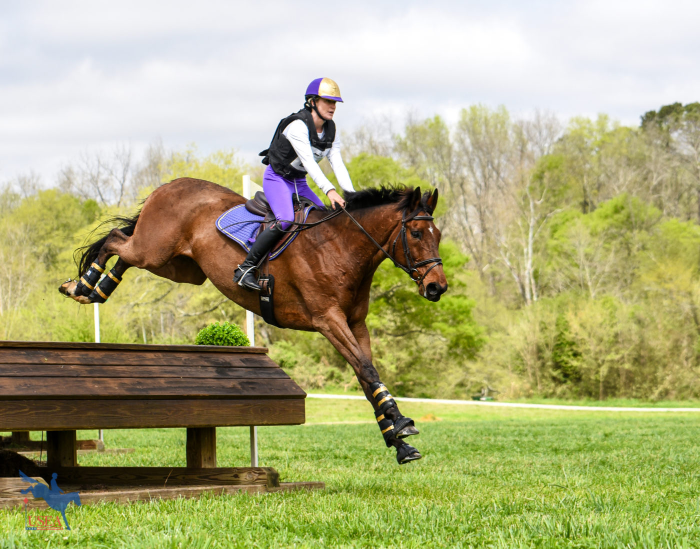 Kelsey Briggs and The Gentleman Pirate touching down at Chattahoochee Hills. USEA/Jessica Duffy Photo.