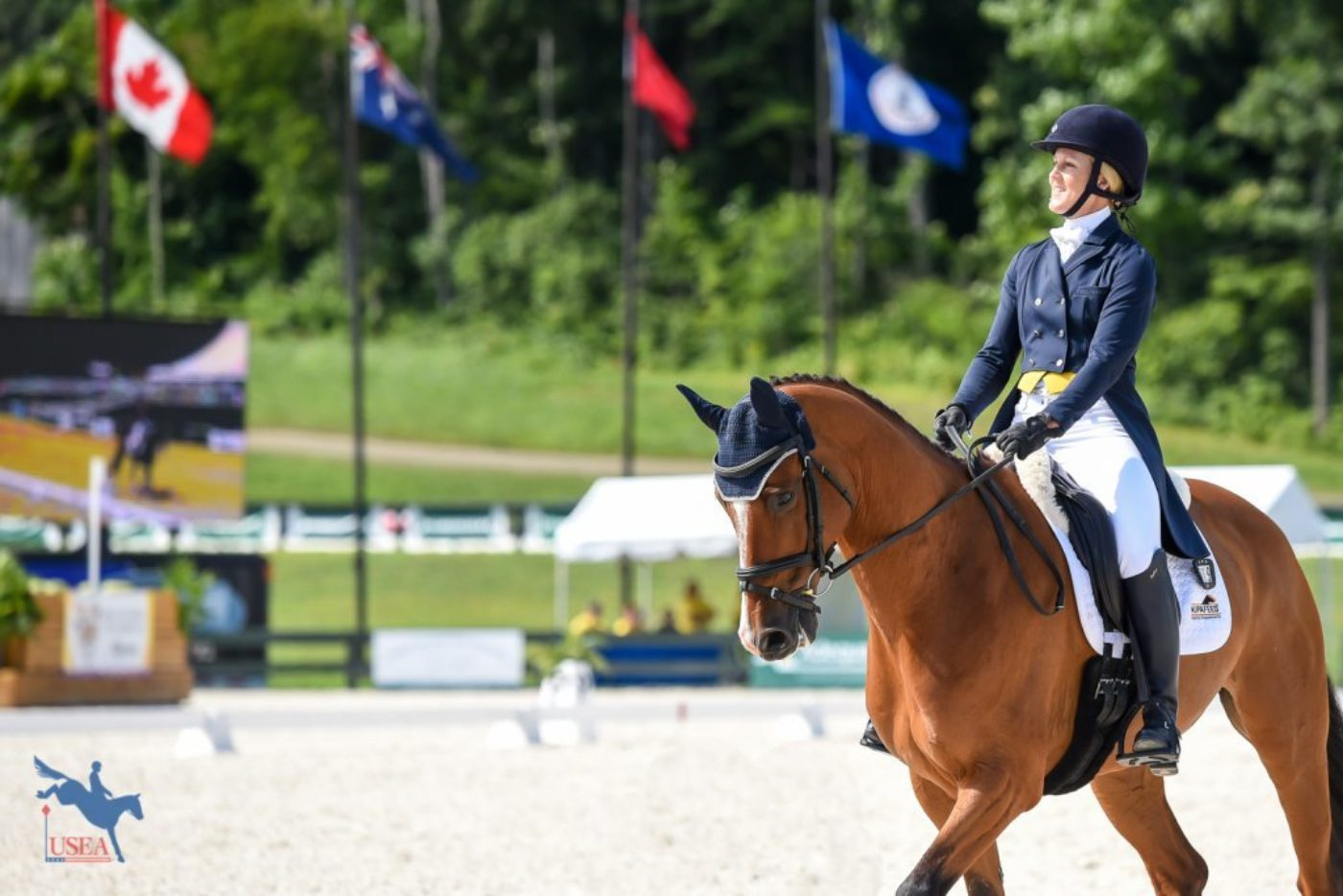 Allison Springer and Lord Willing ready to dance in the sandbox. USEA/Jessica Duffy Photo.