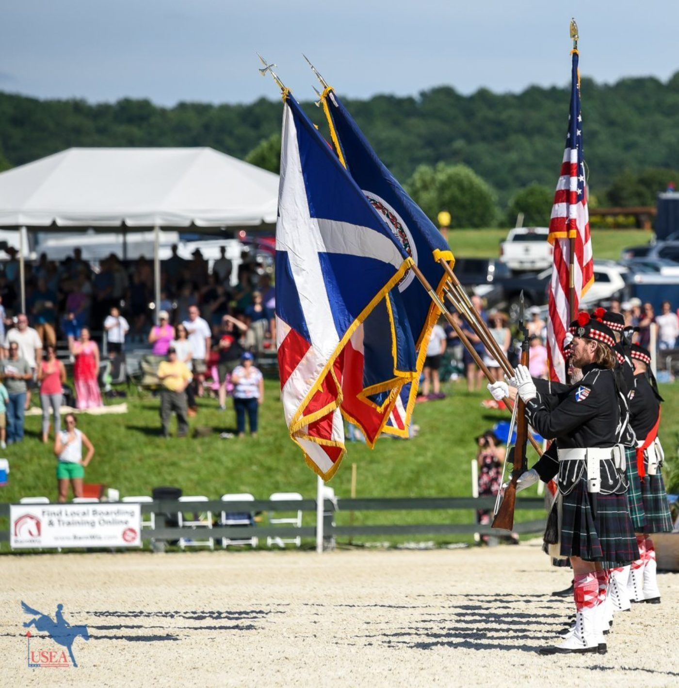 The presentation of the colors at Great Meadow International. USEA/Jessica Duffy Photo.
