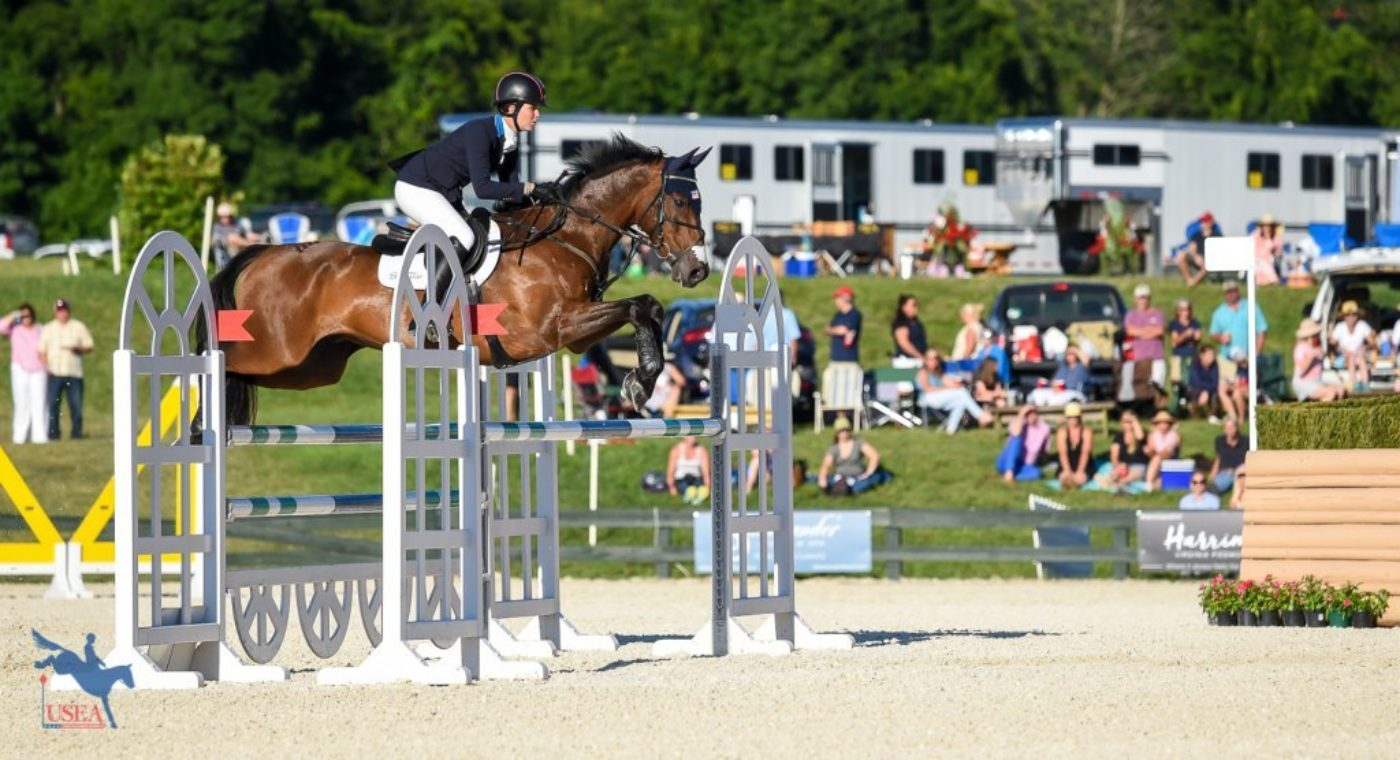 Jump Jet giving a demonstration of how he got his name. USEA/Jessica Duffy Photo.