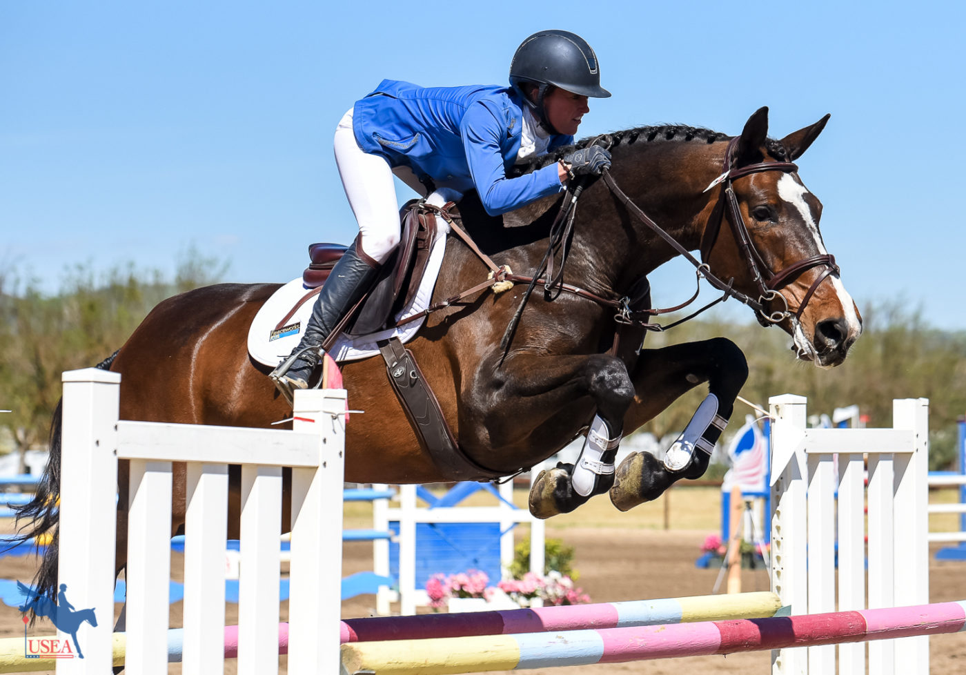 Andrea Baxter and Enfinity showing perfect form. USEA/Jessica Duffy Photo.