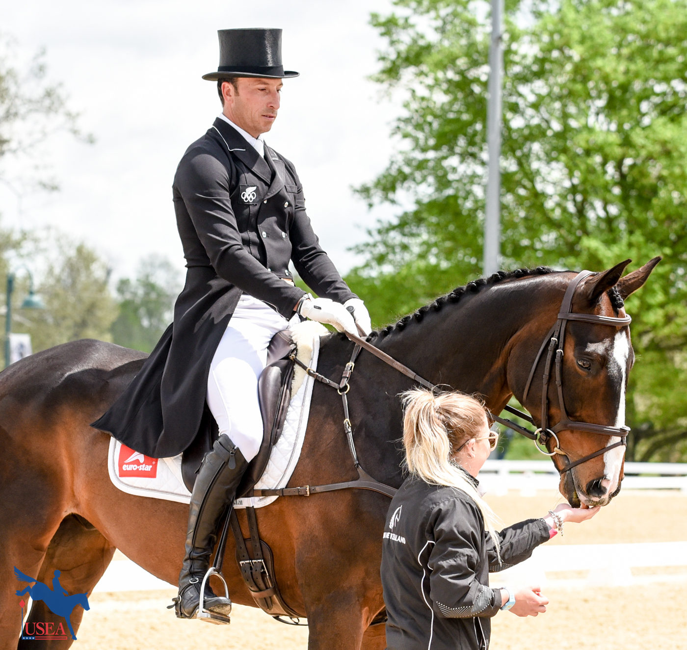 Xavier Faer gets an apple before his dressage test. USEA/Kate Lokey Photo.