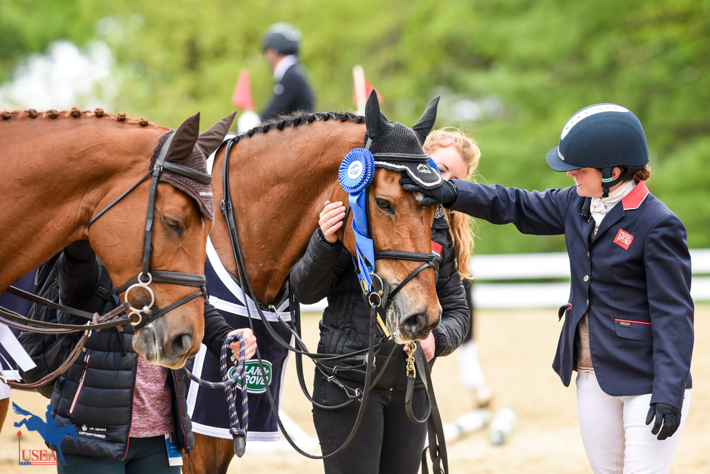The champion getting some love from fourth-place finisher, Piggy French. USEA/Kate Lokey Photo.