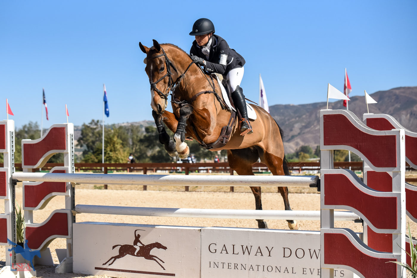 Maddy Mazzola and So Cool jumping through the triple combination with style. USEA/Jessica Duffy Photo.