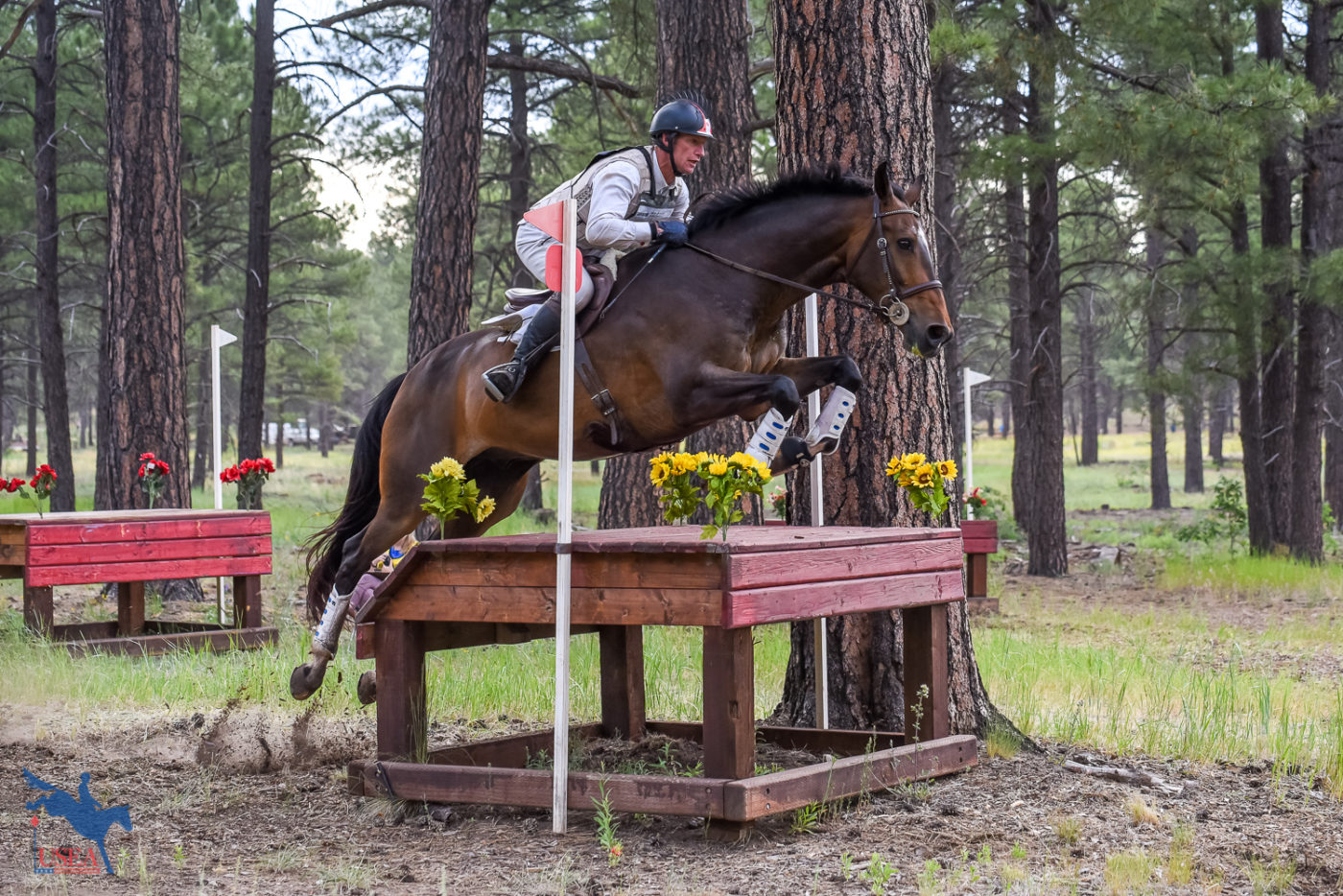 Course Designer James Atkinson taking Fleur de Lis for a spin around the Intermediate course. USEA/Jessica Duffy Photo.