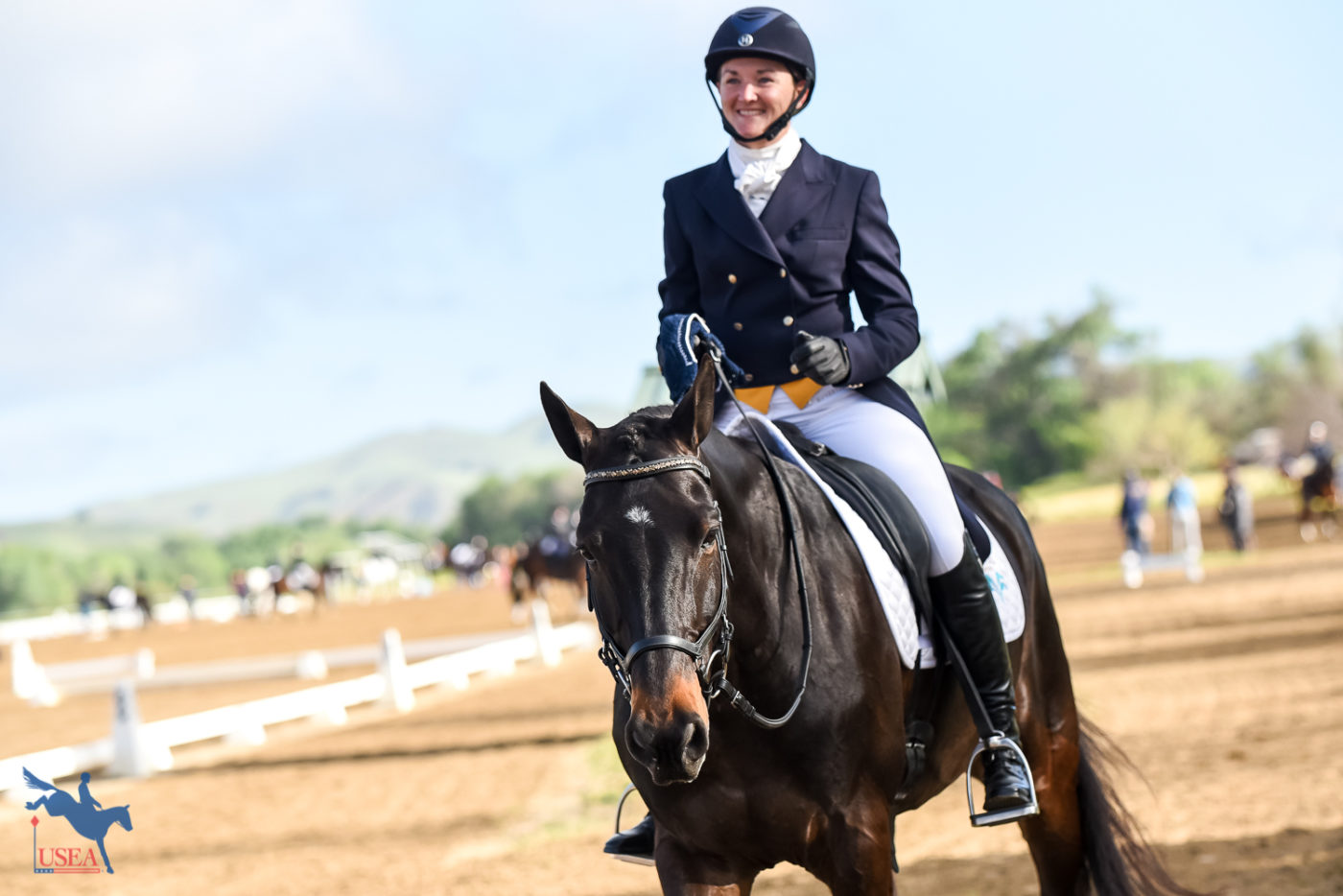 Amber Levine looking very pleased after her test with Cinzano. USEA/Jessica Duffy Photo.