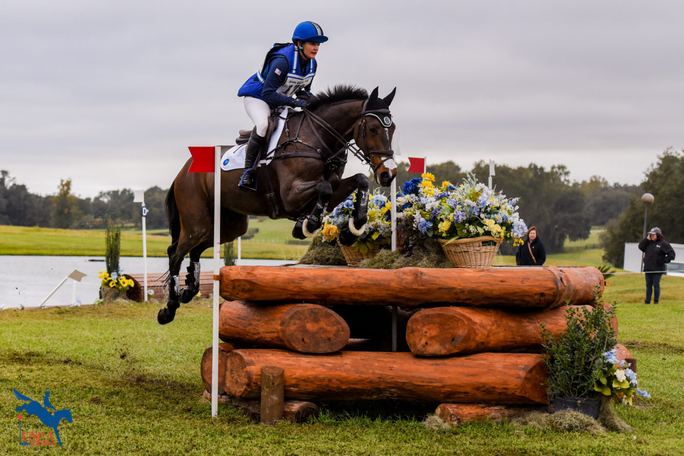 Katherine Coleman and Monbeg Senna get some air over the corner.
